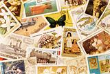 The background of the postal stamps set. In the orange tones.