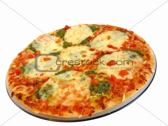 Appetizing pizza with mozzarella cheese isolated on white background