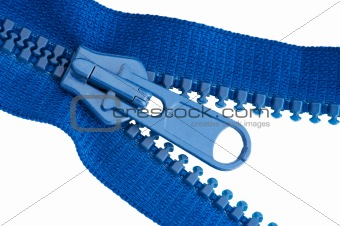 Blue sewing zipper macro