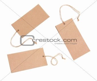 Blank tags tied with brown string