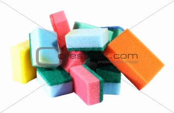 heap of coloured bath sponge, sponge