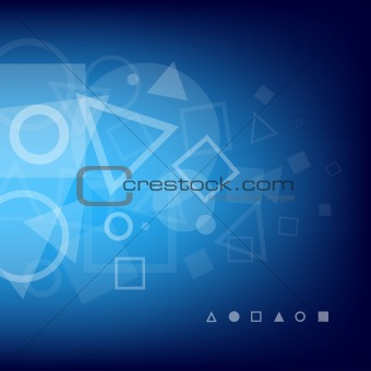 Abstract blue background of geometrical shapes