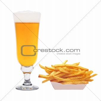 Potato chips and mug full of golden beer isolated on the white b