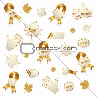 autumn commercial labels isolated on white