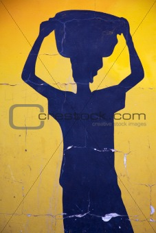 Blue shape of an African woman