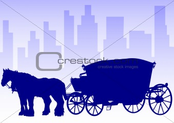 Carriage in big city
