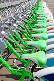 Green Bicycle rent in a travel destination city