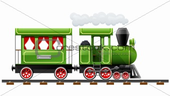 green retro locomotive with coach