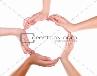 Group of hands forming a circle