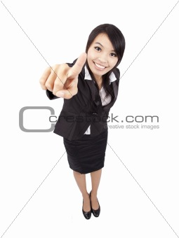 smiling business woman touching the screen with her finger