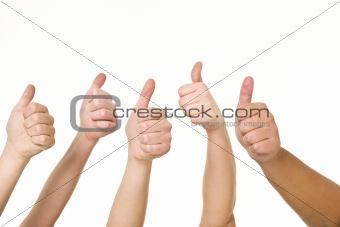 Five hands doing thumbs up