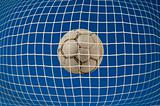 Soccer net with ball