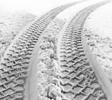 Tire tracks in snow