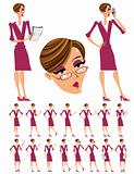 Attractive business woman illustrations set