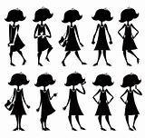 Cartoon girl silhouettes set