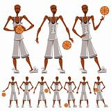 Basketball player illustrations set.