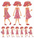 Cartoon girl illustrations set.