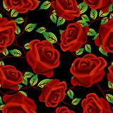 Roses over black pattern
