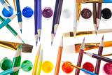 Colorful Pencils & Paint with Brushes