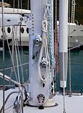 Stainless steel rigging on yacht