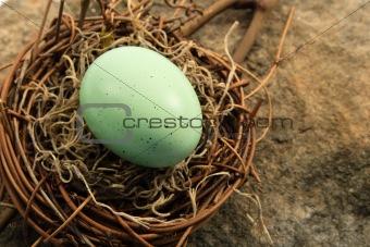 Aqua Easter Egg in Nest