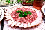 salami slices on the table