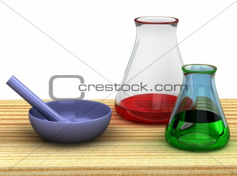 3d chemist table with a test tubes