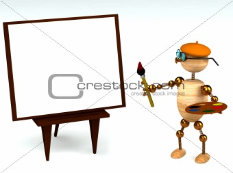 3d wood man as a painter