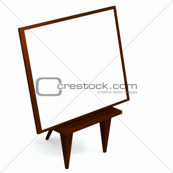 3d wooden easel with blank canvas