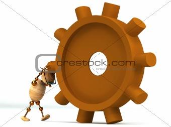 3d wood man spinning a gearwheel