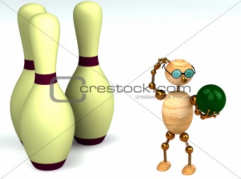 3d wood man is playing bowling
