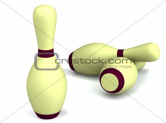 Bowling pins on white 3d rendered