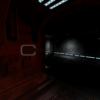 background picture of a dark corridor on bord of a spaceship