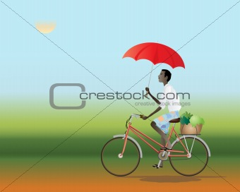 cyclist with an umbrella