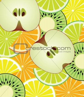 slices of citrus, kiwi and apple