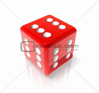 Six red dice