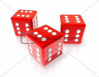 Six red dices