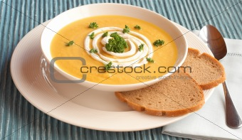 Bowl of fresh butternut soup