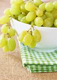 Ripe green grapes in a bowl