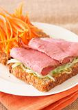 Tasty beef sandwich on wholewheat bread