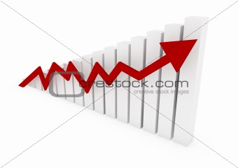 3d graph wall arrow red high