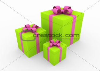 3d green pink white gift box