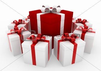 3d white red gift box
