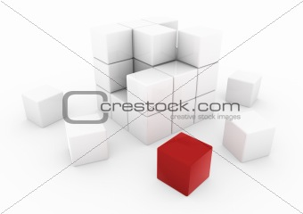 3d business cube red white