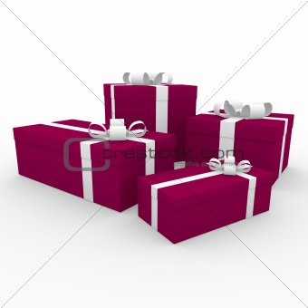 3d white red gift box