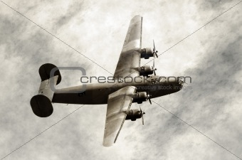 Old bomber in flight