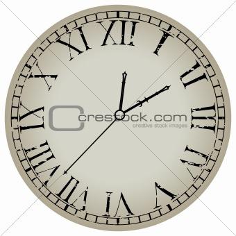 ancient clock against white