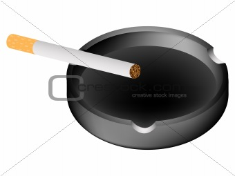 ashtray and cigarette against white