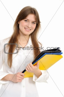 Beautiful confident woman with a folder