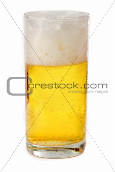 Transparent glass of beer